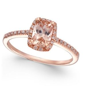 Jewelry - Womens 14k Rose Gold- Morganite and Diamond-size 8